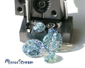 Stamp- ammonite  lampworking, lampworking tool,