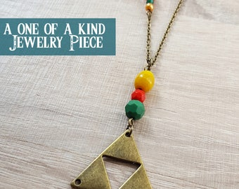 the legend of zelda trifoce necklace, one of a kind zelda triforce charm necklace, colourful geometric triangle charm necklace