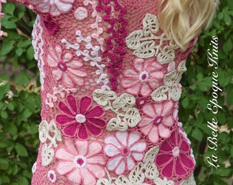 Elegant feminine lace top, Irish style blouse, handmade camomile lace, crochet lace top, MADE TO ORDER
