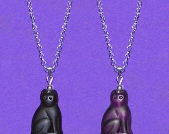 Czech Glass Cat Bead Pendant Matt Black or Amethyst Plum Purple SP Chain Necklace
