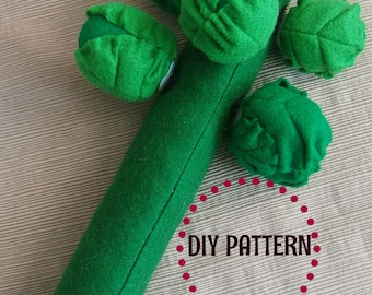 DIY PDF Pattern - Realistic Waldorf Inspired, Felt Brussel Sprouts and Stalk Play Food plush toy for Kids