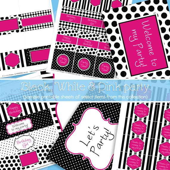 Hot Pink and Black Party Decorations Girl Birthday Party