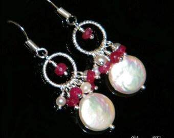Bridal pearl earrings, pearl silver earrings, sterling silver jewelry, pearl drop earrings, July birthstone, Valentine's day gift for women