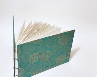 teal with gold mums coptic bound wedding guest book - teal wedding decor - small wedding guest book - hand bound teal wedding guest book