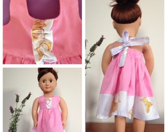 18 inch doll clothing - Purple Fairy Print and Pink Halter Neck Dress. Made to fit Our Generation Doll and American Girl Doll.