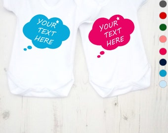 Personalised thought bubble bodysuit. Baby clothes, baby clothing, baby boy, baby girl, baby boy's clothing, baby girl's clothing, baby gift