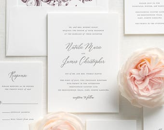 Natalie Letterpress Wedding Invitations - Sample