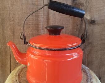 Orange Metal Tea Kettle. Enamelware tea kettle, orange coffee pot, orange teapot, orange coffee pot, retro teapot, retro coffee pot, teapot