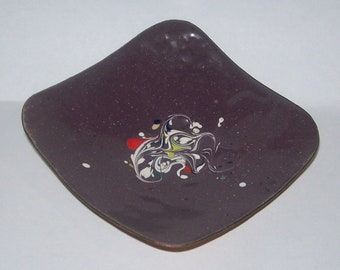 Mid Century Abstract Enamel on Copper Dish