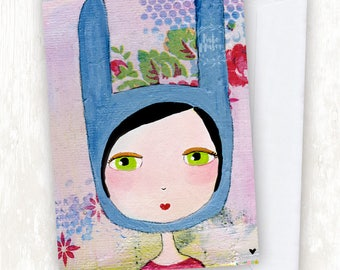 Blue Bunny Girl GREETING CARD