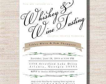 Whiskey & Wine Tasting Couples Wedding Shower Invitation  - PRINTABLE - Digital File