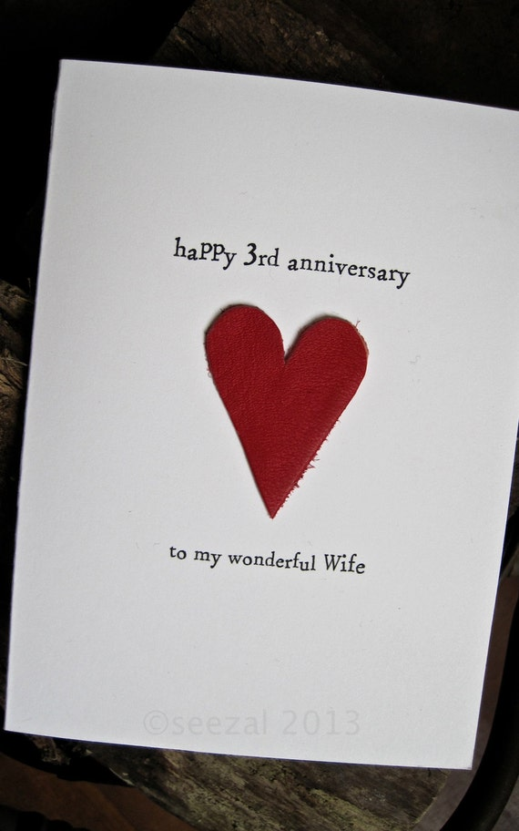 3rd Wedding Anniversary Card Leather Traditional Gift Handmade