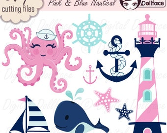 Nautical SVG, Ocean SVG files / Digital Cut Files, Octopus, Sailboat, Whale, Starfish & Anchor SVG Bundle