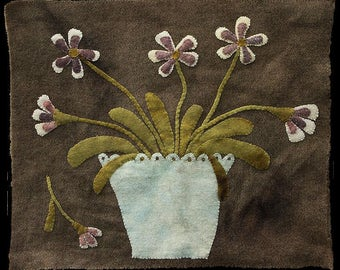 Primitive Wool Applique Pattern - Pot of Violets by Maggie Bonanomi