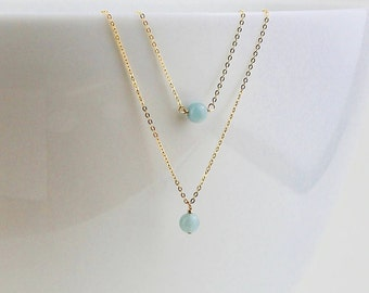 Blue Aquamarine Necklace - March Birthstone Necklace - March Aquamarine Gift for Her - Aquamarine Pendant & 14k Rose Gold or Silver Necklace