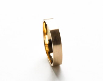 """Modern Eco friendly recycled 14K yellow gold ring wedding engagement handmade 4mm wide band rounded square shape - """"Small Gold Duality Ring"""""""