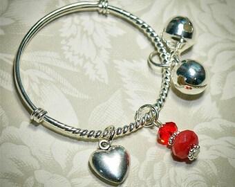 Valentine Baby Bangle -- Silver Plated  -- July Birthstone -- Ruby, Swarovski Crystal -- Infant, toddler