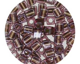 Purple Silver Lined Glass Cube Beads Made in Japan by Miyuki