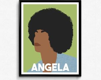 Angela Davis- Feminist Icon Poster, Minimalist Print, Wall Art