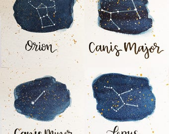 Orion Constellation Painting Set - Galaxy, Night Sky, Stars, Original Watercolor, Canis Major, Canis Minor, Lepus, Astronomy, Gift for Her