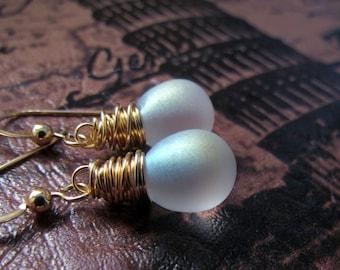 Frosted Glass Earrings, Snowflake, Gold Filled, Czech Glass, Matte Frost Sparkle Earrings, Wire Wrapped, Frosted Teardrop Earrings