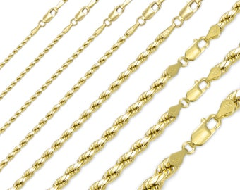 "10K Solid Yellow Gold Diamond Cut Rope Necklace Chain 1.0-8.0mm 16-30"" - Link"
