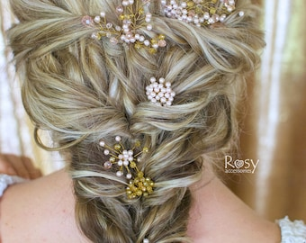 Wedding Pin, Wedding Hair Pins, Set of Wedding Pins, Gold Bridal Hair Pins, Bridal Beaded Hair Pins, Pink Wedding Hair Accessories