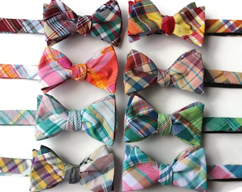 Patchwork Plaid Bow Tie~Mens Self Tie Bow Tie~Mens Pre Tied~Anniversary Gift~HoBo Ties~Cotton Bow Tie~Red Plaid Bow Tie~Patchwork Tie