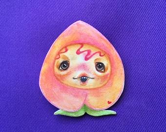 Hand Drawn Little Peach Pin ~ Original Artwork