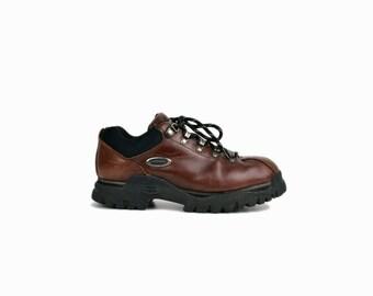Vintage 90s Oxblood Leather Platform Sneakers / 90s Skechers Hiking Boots / Lug Sneakers - women's 10