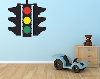Stop Caution Go Traffic Light Removable Vinyl Wall Art, playroom wall art boys room wall sticker car theme room stop go light red light