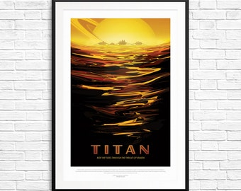 NASA Titan Poster, NASA Posters, space posters, astronomy posters, astronaut art, space prints, space art, NASA Jpl, space theme decorations