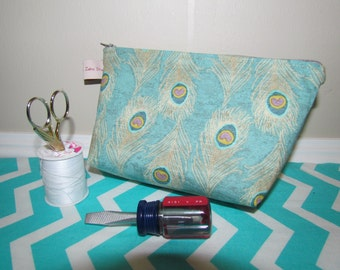 Feather makeup bag