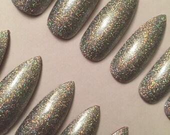 Holographic Glitter Extra Long Stiletto False Nails.