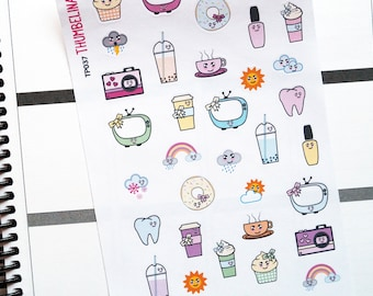 Kawai Sampler Decorative Planner Stickers for Erin Condren, Filofax, Happy Planner and more (TP037)