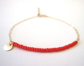 bracelet // customized delicate red orange beaded bracelet with 14k gold filled chain and 1 tiny 14k gold filled sequin disc beaded bracelet