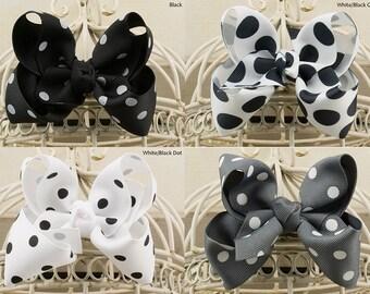Black or  White Polka Dot Boutique Hair Bow, Gray Polka Dot Boutique Hair Bow, Black, Gray or White Polka Dot Grosgrain Hair Bow