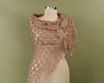 Shawl with Fringe, Wedding Shawl Lace, Bridal Shawl Wrap, Shawl Crochet Taupe, Cover Up, Bridal Shrug Bolero, Large Shawl, Bridesmaid Shawl