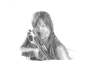WALKING DEAD Daryl Dixon pencil drawing