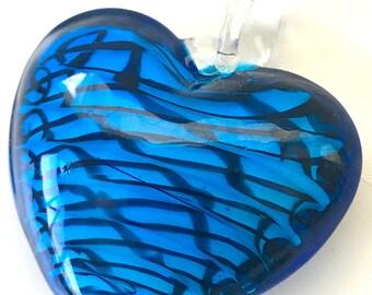Turquoise Navy Blue Handblown Glass Heart Pendant