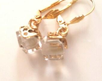 SALE * Gold Tone Glass/Crystal Cube Dangle Earrings, jewelry, earrings, drop, glass earrings.