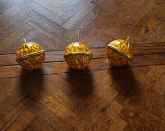 Set of 3 Gold Acrylic Ornaments, Gold Ornaments, Colored Ornaments, Christmas Gold Ornament