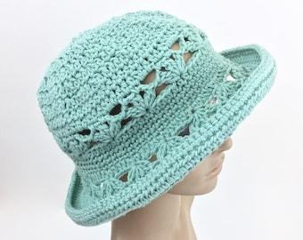 Ocean Sun Hat Teal Cotton Summer Hat Aquamarine Garden Hat with Brim Crochet Hat Women Beach Style Spring Hat Handmade Blue Green Spruce