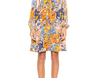 Asian Print Long Sleeve Polyester Dress Size: 2