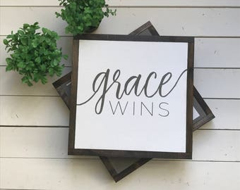 "Grace Wins | handmade wood sign | 13"" x 13"" 