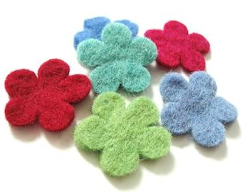 Felt Flowers - 6 Pure Wool Handmade Embellishments 30mm - Mixed Colors
