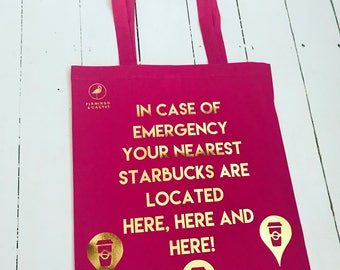 In case of emergency starbucks tote bag