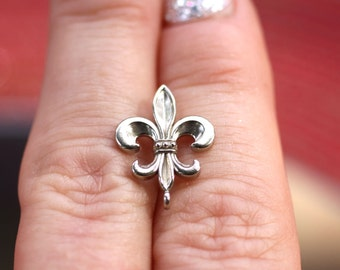 14k White Gold 15x12.5mm Fleur-De-Lis Bail with Soldered Jump Ring, Fine Jewelry Making Supplies, New Orleans Saints