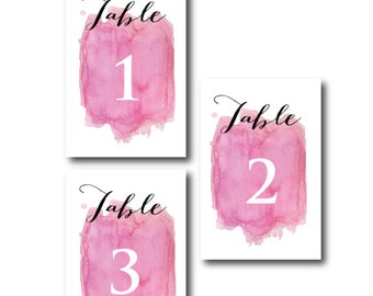 Table Numbers - Pink Water Color