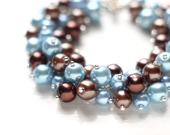 Light Cornflower Blue and Brown Bridesmaid Jewelry, Pearl Cluster Bracelet - For Weddings and Brides